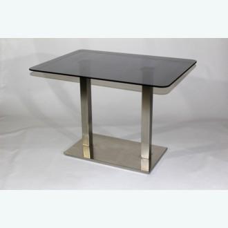 Стеклянный обеденный стол Е77К серый