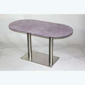 Стеклянный обеденный стол Е77-23 фотопечать розовый мрамор