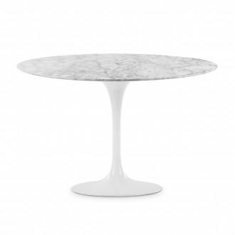 Стол стеклянный обеденный Тулип МК белый мрамор опора белая