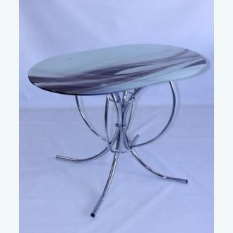 Обеденный стол Арфа 23 с рисунком коричневая волна