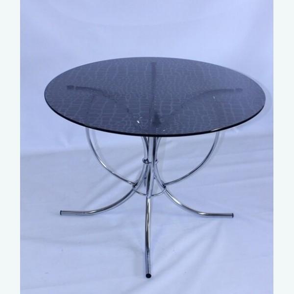 Черный стеклянный стол для кухни - Арфа