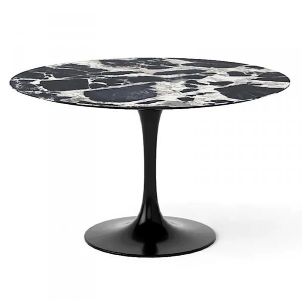Стол стеклянный обеденный Тулип МК черный-белый мрамор опора черная