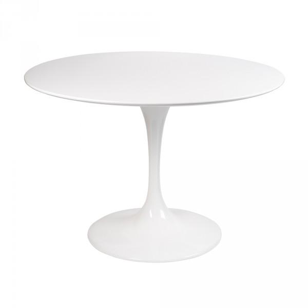 Стол стеклянный обеденный Тулип МК белый опора белая