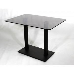 Стеклянный обеденный стол Е77К серый каркас черный
