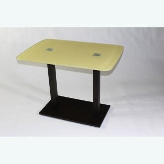 Стеклянный обеденный стол Е77К-32 бежевый каркас бронза