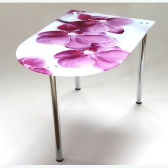 Стол обеденный Эдель 30/3 орхидея на белом