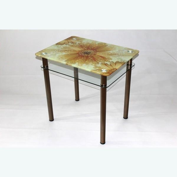 Обеденный стол из стекла Эдель 11 фотопечать герберы