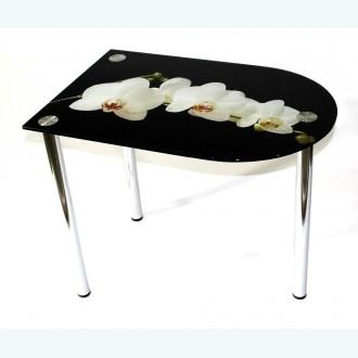 Стол обеденный Эдель 30/3 белая орхидея на черном