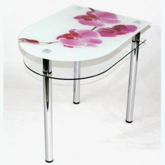 Стол обеденный Эдель 31/3 с рисунком Орхидея на белом