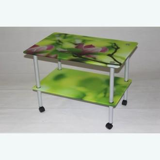 журнальный столик Эвита 08 фотопечать лилия на зеленом
