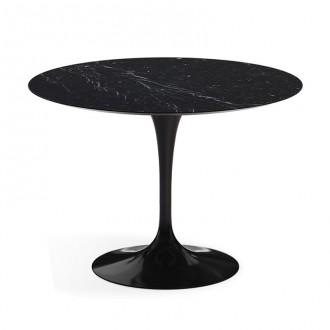 Стол стеклянный обеденный Тулип МК черный мрамор опора черная