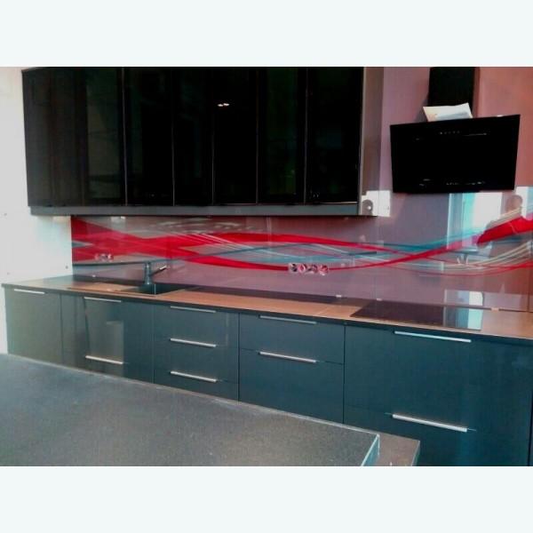 Стеклянный фартук для кухни с фотопечатью красная волна