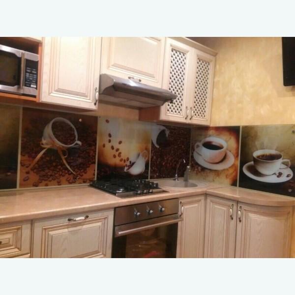 Стеклянный фартук для кухни с фотопечатью чашка кофе винтаж 374