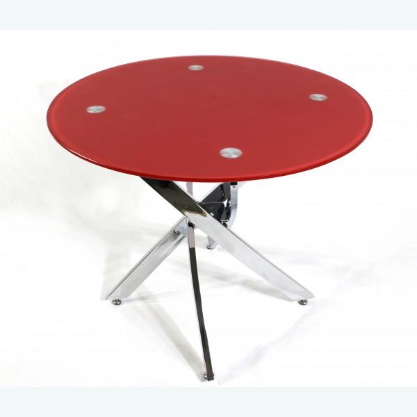 Стол обеденный Рим 18 DT17 окрас красный (опоры металлокаркас хром)