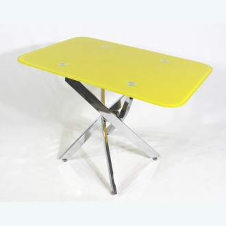 Стол обеденный Рим 10 окрас желтый (опоры металлокаркас хром)