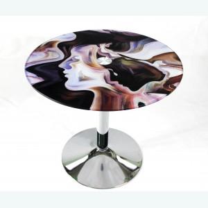 Стол обеденный стеклянный Троя 18 с рисунком 811