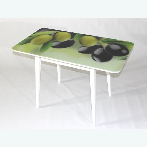 Раздвижной стол из стекла Милан 10 оливки опоры деревянные прямые