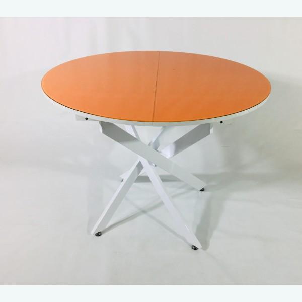 Стол С75-18 раздвижной оранжевый (опоры белые)