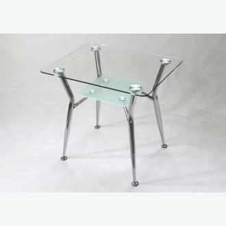 Стол обеденный Квадро 10 стекло прозрачное подстолье матовое