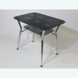 Стол обеденный Квадро 10 серый с рисунком квадраты 91