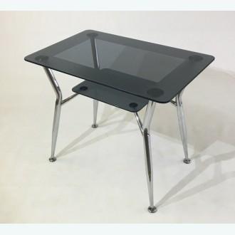 Стол обеденный Квадро 10 серый с рисунком кант 1