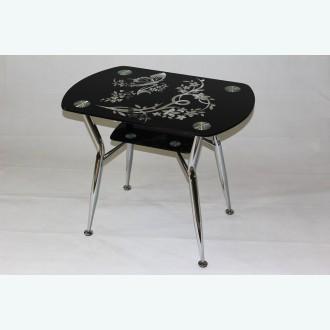 Стол обеденный Квадро 32 рисунок весна и подстолье черные