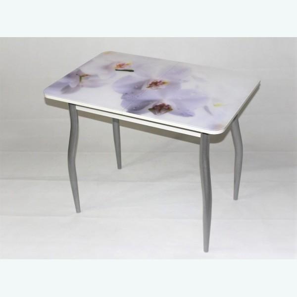 Стол Милан 10 раздвижной с фотопечатью белая орхидея (фигурные опоры металлик)