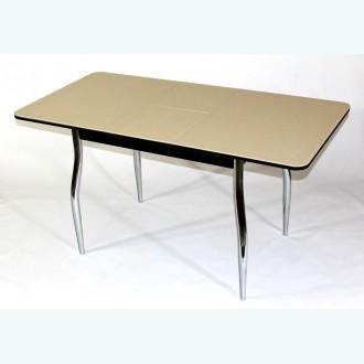 Раздвижной стол из стекла Милан 10 бежевый фигурные опоры хром
