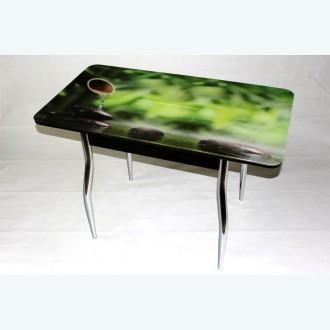 Раздвижной стол из стекла Милан 10 фотопечать бамбук фигурные опоры хром