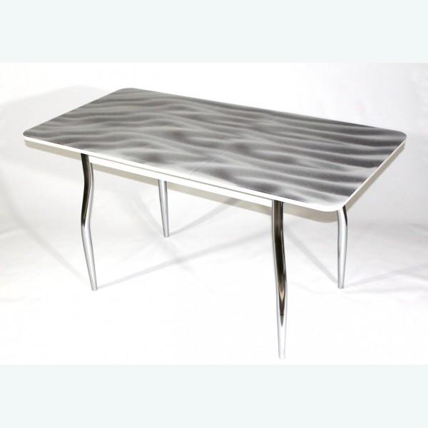 Раздвижной стол из стекла Милан 10 фотопечать серый песок фигурные опоры хром