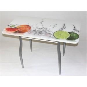 Стол Милан 10 раздвижной с фотопечатью фрукты (фигурные опоры металлик)