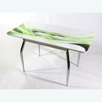 Раздвижной стол из стекла Милан 10 фотопечать зеленая волна фигурные опоры хром