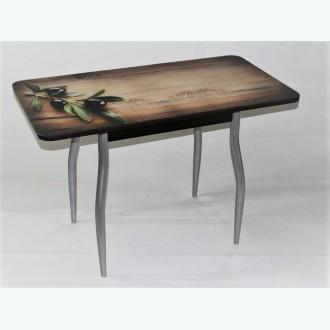 Стол Милан 10 раздвижной с фотопечатью ветка оливки (фигурные опоры металлик)