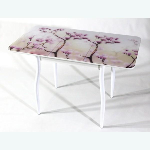 Раздвижной стол из стекла Милан 10 фотопечать сакура фигурные опоры белые