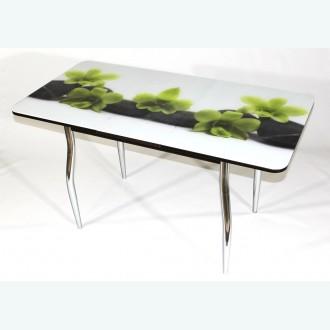 Раздвижной стол из стекла Милан 10 фотопечать цветы на камушках фигурные опоры хром