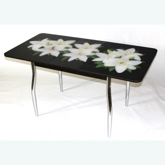 Раздвижной стол из стекла Милан 10 фотопечать белая лилия фигурные опоры хром