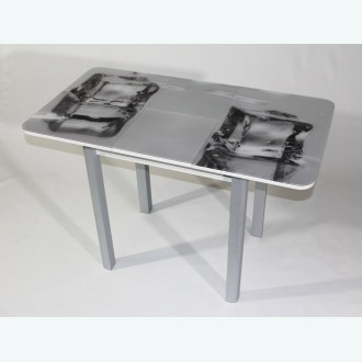 Стол Милан 10 раздвижной с фотопечатью лед (радиусная опора серебро)