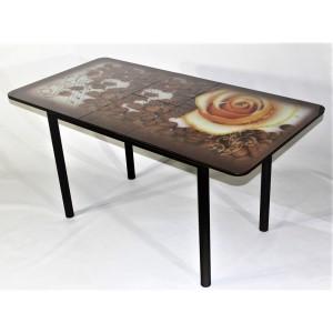 Стол обеденный раздвижной Милан 10 с фотопечатью роза с кофе (стекло)