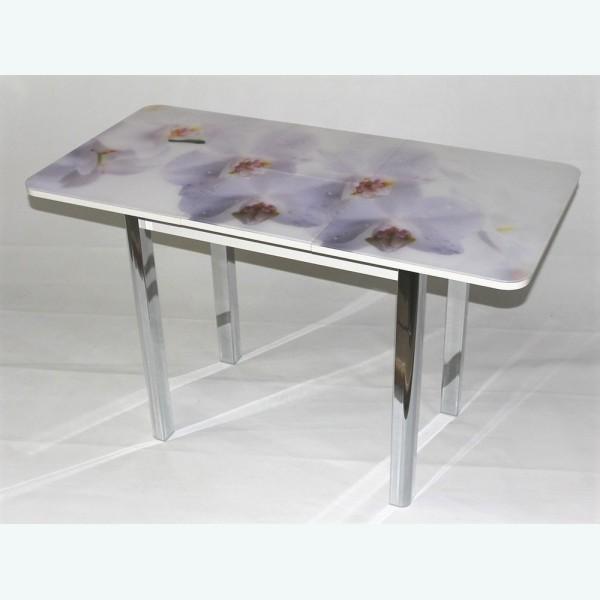 Стол Милан 10 раздвижной с фотопечатью белая орхидея (радиусная опора)
