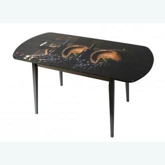 Раздвижной стол из стекла Милан 32 бочка с виноградом опоры деревянные прямые