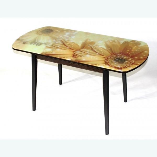 Раздвижной стол из стекла Милан 32 бежевые герберы опоры деревянные прямые