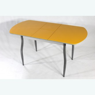 Раздвижной стол из стекла Милан 10 оранжевый фигурные опоры металлик