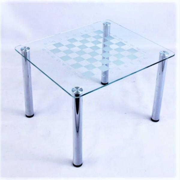 Кофейный столик Модерн 01 прозрачный с рисунком шахматная доска