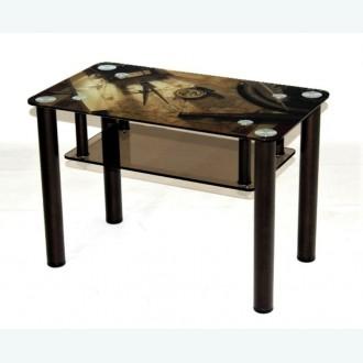 Кофейный столик Модерн 02 бронзовый с рисунком карта с компасом