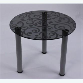 Кофейный столик Модерн 03 серый пескоструйным рисунком Русские узоры М