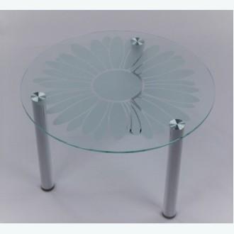 Кофейный столик Модерн 03 с пескоструйным рисунком Ромашка М