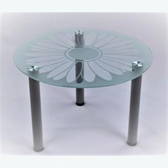 Кофейный столик Модерн 03 с пескоструйным рисунком Ромашка П