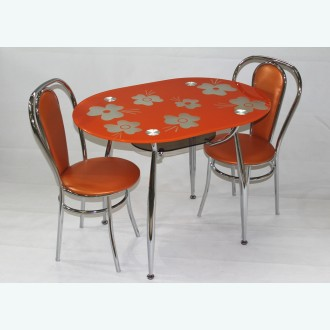 Обеденная группа Вокал 23 рисунок Кармен оранжевый подстолье бронза стулья Венские М
