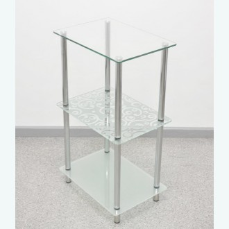 Стеклянная этажерка универсальная 3 прозрачно-матовая с рисунком русские узоры