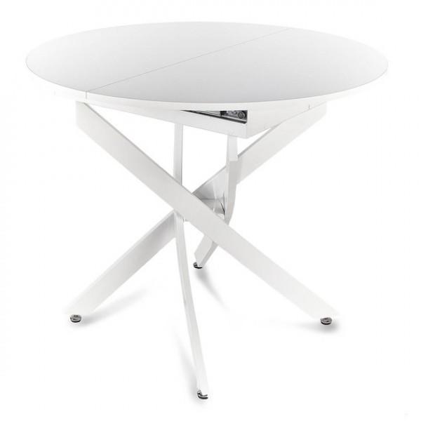 Стол С75-18 раздвижной деревянный белый (металлокаркас белый)